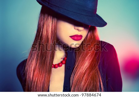Fashion portrait of sexy woman in Hat - stock photo