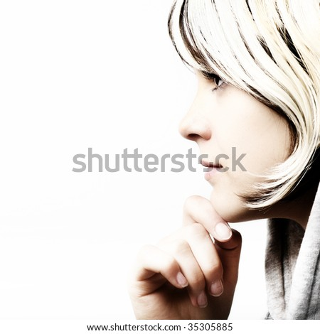 Fashion portrait of young beautiful girl - stock photo