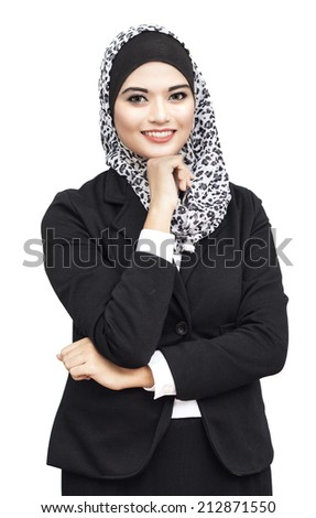 Fashion portrait of young beautiful muslim woman with scarf isolated on white background - stock photo