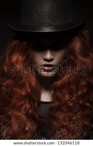 fashion portrait of young beauty woman wearing hat on dark gradient background - stock photo