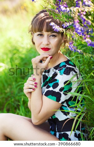 Fashion portrait of young sensual woman in garden. Beauty summertime - stock photo