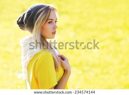 Fashion portrait pretty stylish hipster girl outdoors - stock photo