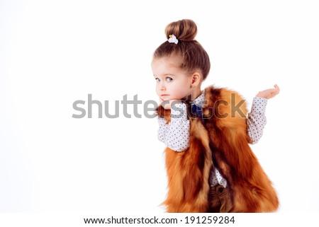 fashion portrait. Stylish little girl. isolated on white background - stock photo