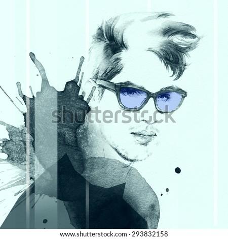 Fashion portrait. young beautiful man. hand painted fashion illustration - stock photo