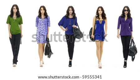 Fashion pretty girl full length in modern,dress, studio shot, collage