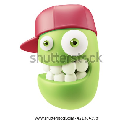 Fashion Red Hat Emoticon Face. 3d Rendering.