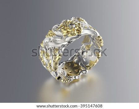 Fashion Ring with Diamond. Jewelry background