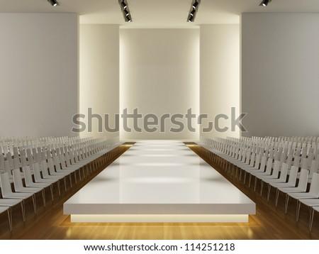 fashion runway empty  3d - stock photo
