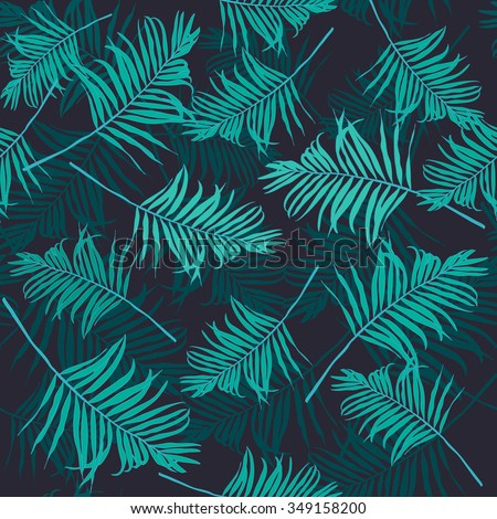 Fashion Seamless Creative Art Print For Design Green Colored Jungle WallpaperTropical Palm Leaf