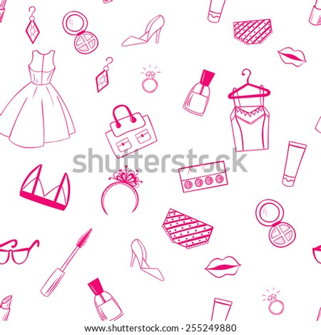Fashion seamless pattern. Dress, ear rings, lipstick illustration.