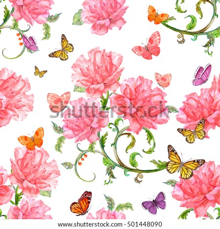 fashion seamless texture with roses and baroque floral scroll filigree of watercolor