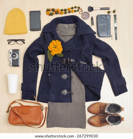 fashion set of clothing and accessories for the fall, fashion concept  - stock photo