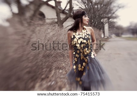 fashion sexy girl in the forest - stock photo