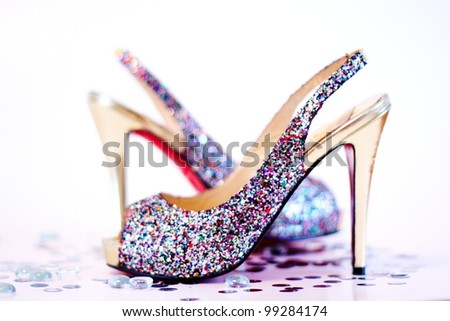 Fashion sexy high heel shoes on white studio background - stock photo