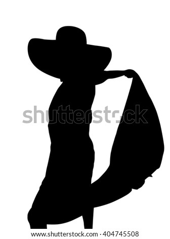 Fashion, sexy woman silhouette with sarong, black backlight isolated on white background.