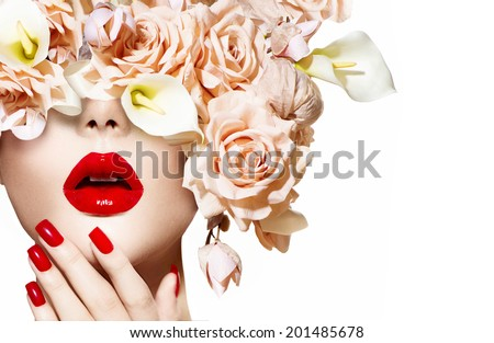 Fashion Sexy Woman with flowers. Vogue style Model girl face with roses. Red Sexy Lips and Nails closeup. Manicure and Makeup. Make up. Beauty lady face isolated on white background. Perfect skin  - stock photo