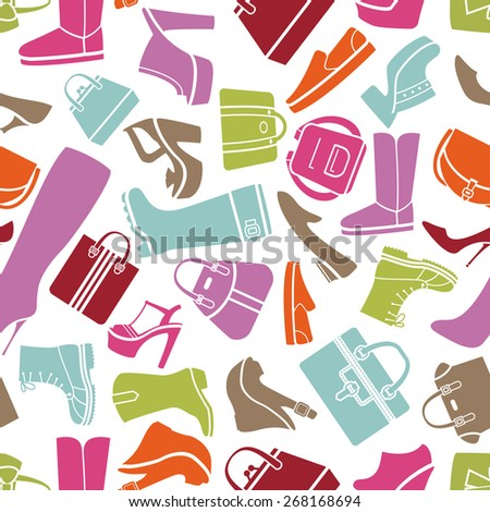 Fashion shoes and bags seamless pattern on white background for sales and marketing - stock photo