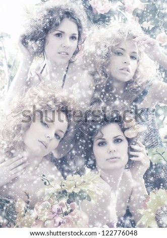 Fashion shoot of young beautiful nymphs in the abstract winter forest - stock photo