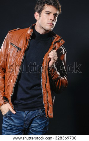 fashion Shot of a young man a professional model. - stock photo