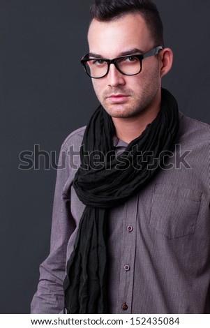 fashion shot of a young man - he is now a professional model - stock photo