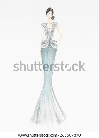 fashion sketch. female model in beautiful cocktail dress with bead and precious stones applications - stock photo