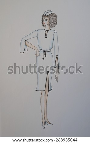 Fashion sketch, hand drawn with pencils and ink pen, beautiful woman modelling on runway with white uniform dress and cap - stock photo