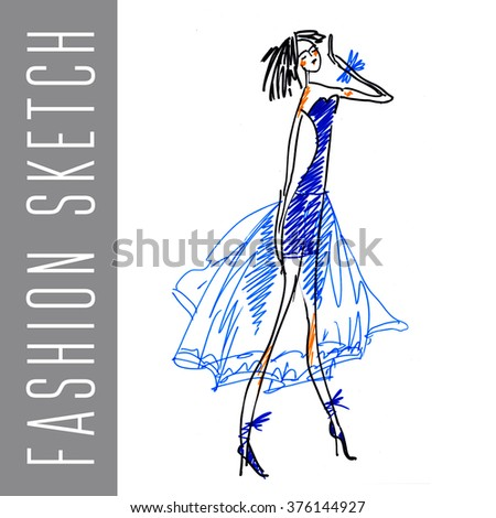 fashion sketch hand-made illustration. vogue girl. women clothes drawing