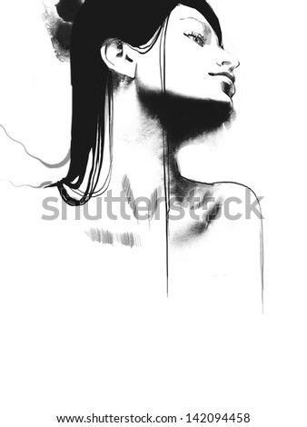 Fashion sketch illustration portrait of a young beautiful woman with black long hair - stock photo