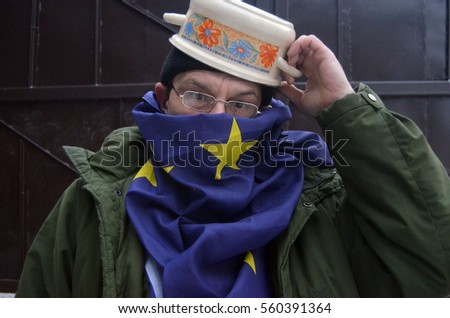 Fashion stile of Ukrainian riot 2013-14.Protesters begin coup with dishes on the head.