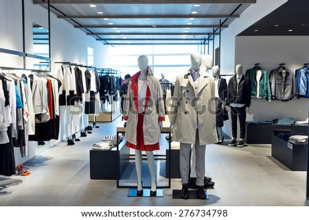 fashion store interior and mannequins - stock photo
