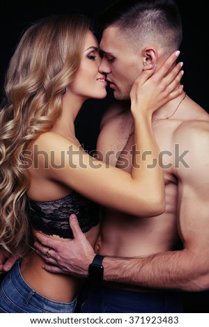 fashion studio photo of beautiful sexy couple in lingerie. love story, Valentine's day