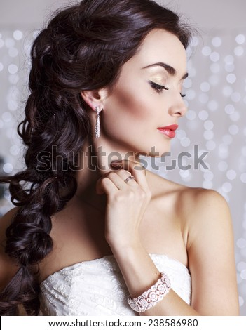 stock photo fashion studio portrait of beautiful bride with long dark hair in elegant wedding dress with 238586980 How you can find Girls On line