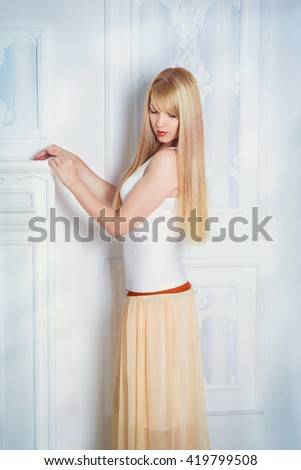 Young Cold Woman Wrapped Blanket Sitting Stock Photo