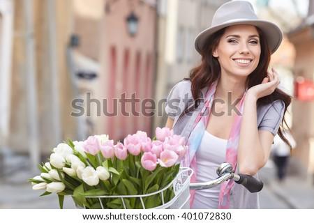 Fashion style photo of a spring women  - stock photo