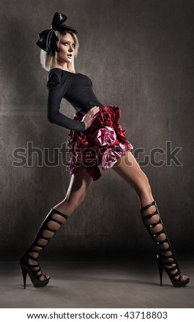 Fashion style photo of a young lady - stock photo