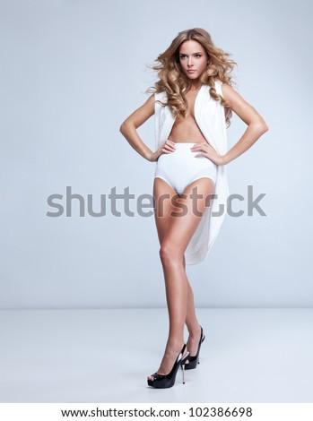 fashion style photo of beautiful blonde woman - stock photo