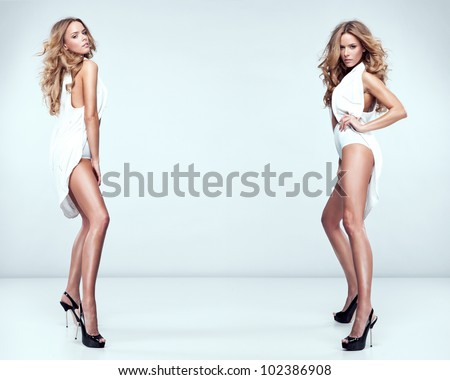 fashion style photo of beautiful sexy twins - stock photo