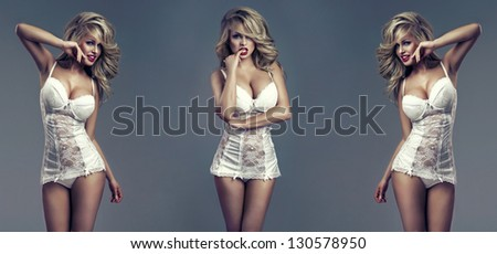 fashion style photo of beautiful sexy women - stock photo