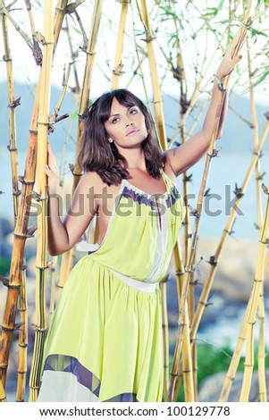 Fashion style photo of beautiful woman outdoor
