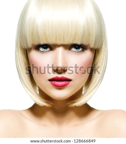 Fashion Stylish Beauty Portrait with White Short Hair. Beautiful Girl's Face Close-up. Haircut. Hairstyle. Fringe. Professional Makeup. Make-up. Vogue Style Woman. Isolated on a White Background.