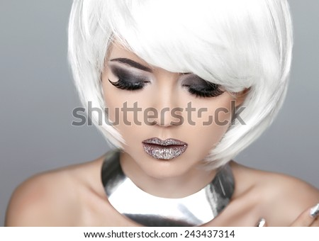 Fashion Stylish Beauty Portrait with White Short Hair. Beautiful Girl's Face Close-up. Haircut. Hairstyle. Fringe. Professional Makeup. - stock photo