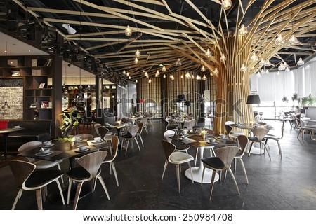 Fashion stylish restaurant interior - stock photo