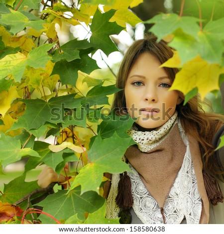 Fashion stylish woman autumn portrait - stock photo