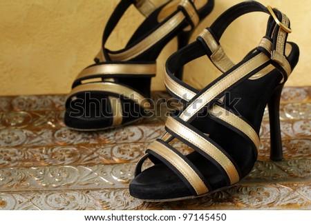 Fashion stylish  women's shoes at the glamorous  background - stock photo