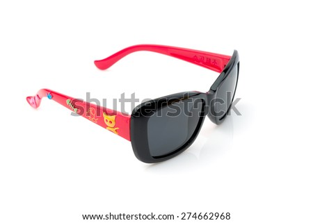 Fashion 2015 summer  sunglasses on white background for kids - stock photo