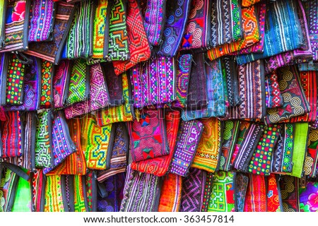 fashion textile silk handcraft bag - stock photo