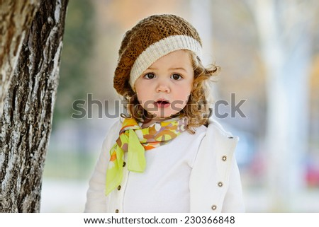 fashion toddler  girl in fall time - stock photo