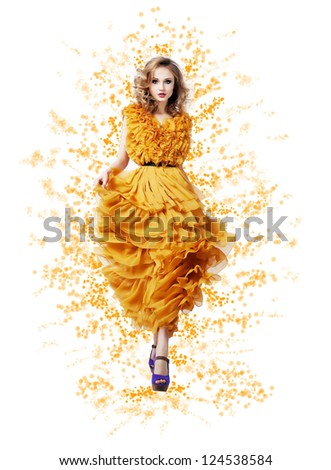 Fashion Trendy Woman in Yellow Summer Dress - Modern Style - stock photo