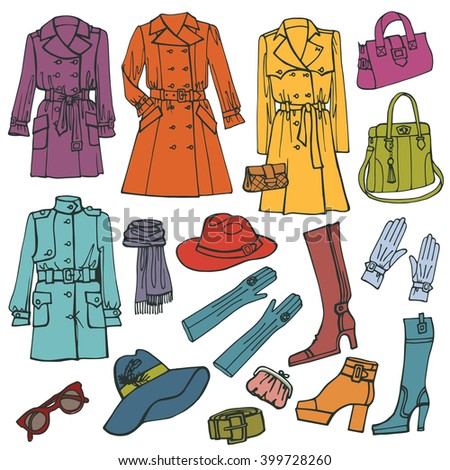 Set Female Clothes Accessories Isolated On Stock Vector ...