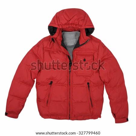 fashion winter red jacket  isolated on white background - stock photo
